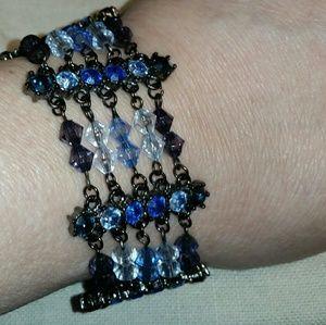 Jewelry - Gun Metal, Shades of Blue, 5 Multi-Strand, 6 Bar B